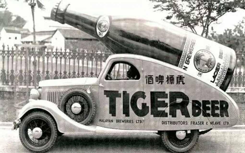 Old Tiger Beer truck vintage ad
