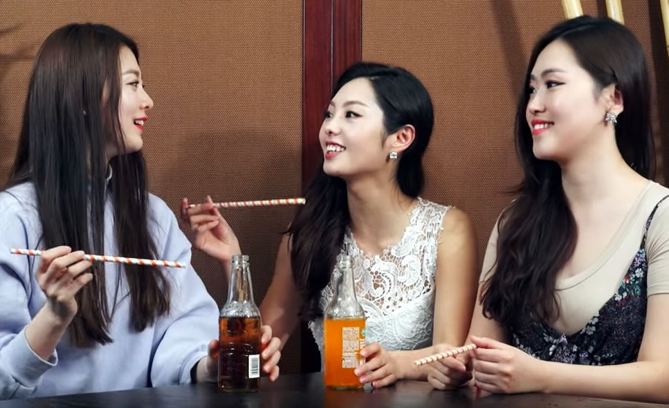 Korean Girls Taste Test American and Mexican Soft Drinks