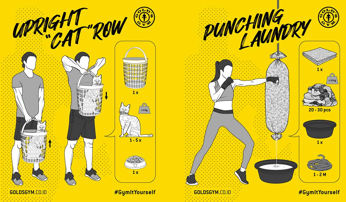 The 'Upright Cat Row' and Other Lockdown Exercises from Gold's Gym in Indonesia